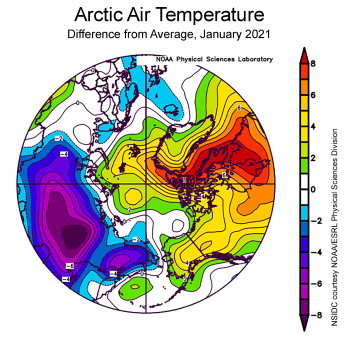 Difference from average air temperature over Arctic for January 2021