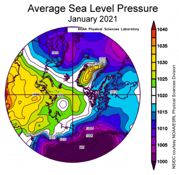 Average Arctic sea level pressure, January 2021