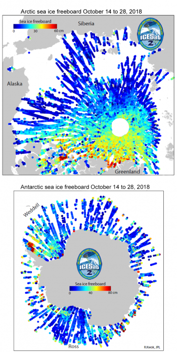 Figure 4. These maps show preliminary sea ice freeboard (height of snow or ice surface above the ocean) from two weeks of ICESat-2 data acquired in October 2018. Note that both the spatial scale and the vertical scale are different for the two maps.|| Credit: R. Kwok, Jet Propulsion Laboratory|High-resolution image