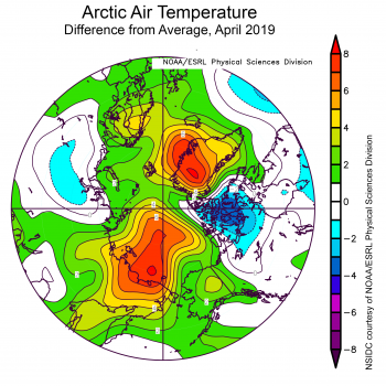 Figure 2b. This plot shows the departure from average air temperature in the Arctic at the 925 hPa level, in degrees Celsius, for April 2019. Yellows and reds indicate higher than average temperatures; blues and purples indicate lower than average temperatures. ||Credit: NSIDC courtesy NOAA Earth System Research Laboratory Physical Sciences Division |High-resolution image