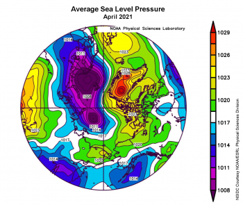 Figure 2c. This plot shows average sea level pressure in the Arctic in millibars for April 2021. Yellows and reds indicate high air pressure; blues and purples indicate low pressure. || Credit: NSIDC courtesy NOAA Earth System Research Laboratory Physical Sciences Division|High-resolution image