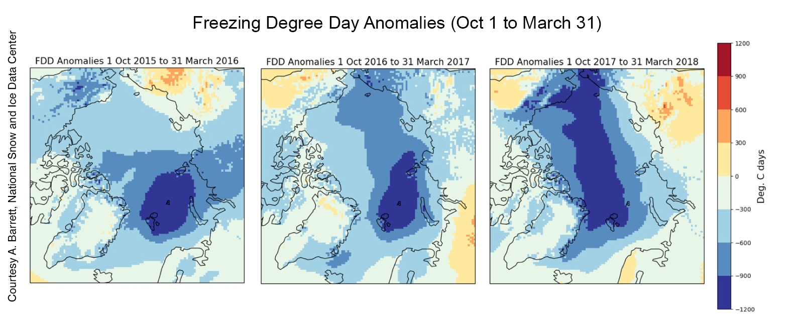 Is winter warming resulting in less winter ice growth?