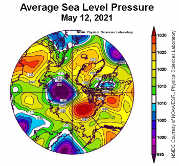 Figure 2b. This plot shows average sea level pressure in the Arctic in millibars on May 12, 2021. Yellows and reds indicate high air pressure; blues and purples indicate low pressure. ||Credit: NSIDC courtesy NOAA Earth System Research Laboratory Physical Sciences Laboratory|High-resolution image