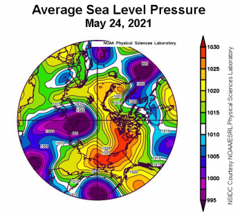 Figure 2c. This plot shows average sea level pressure in the Arctic in millibars on May 24, 2021. Yellows and reds indicate high air pressure; blues and purples indicate low pressure. ||Credit: NSIDC courtesy NOAA Earth System Research Laboratory Physical Sciences Laboratory|High-resolution image