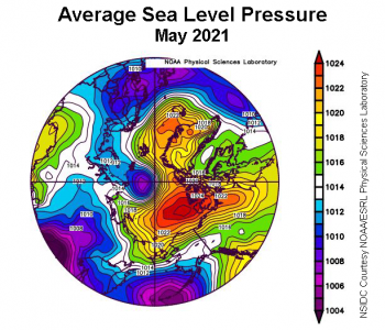 Figure 2d. This plot shows average sea level pressure in the Arctic in millibars for May 2021. Yellows and reds indicate high air pressure; blues and purples indicate low pressure. ||Credit: NSIDC courtesy NOAA Earth System Research Laboratory Physical Sciences Laboratory|High-resolution image