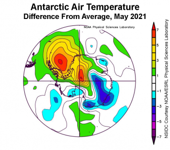 Figure 5b. air temp as difference from average in Antarctic for May 2021||Credit: NSIDC courtesy NOAA Earth System Research Laboratory Physical Sciences Laboratory|High-resolution image