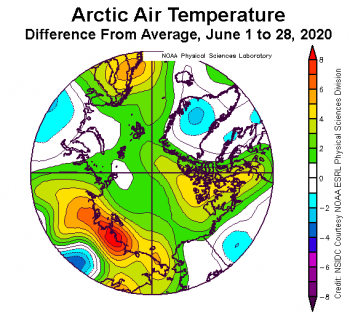 Figure 2b. This plot shows the departure from average air temperature in the Arctic at the 925 hPa level, in degrees Celsius, for June 1 to 28, 2020. Yellows and reds indicate higher than average temperatures; blues and purples indicate lower than average temperatures.||Credit: NSIDC courtesy NOAA Earth System Research Laboratory Physical Sciences Division High-resolution image|High-resolution image