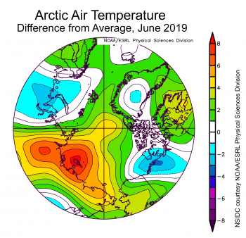 Figure 2X. This plot shows the departure from average air temperature in the Arctic at the 925 hPa level, in degrees Celsius, for June 2019. Yellows and reds indicate higher than average temperatures; blues and purples indicate lower than average temperatures.||Credit: NSIDC courtesy NOAA Earth System Research Laboratory Physical Sciences Division| High-resolution image