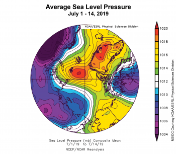 Figure 2c. This plot shows average sea level pressure in the Arctic in millibars (hPa) for July 1 - 14, 2019. Yellows and reds indicate high air pressure; blues and purples indicate low pressure. ||Credit: NSIDC courtesy NOAA Earth System Research Laboratory Physical Sciences Division |High-resolution image