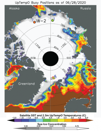Figure 4b. This map shows sea surface temperature and ice concentration for June 28, 2020. The locations of three Upper layer Temperature of the Polar Oceans (UpTempO) drifting buoys are marked as 1, 2, and 7. Sea surface temperature data are from the National Oceanic and Atmospheric Administration daily Optimum Interpolation Sea Surface Temperature (OISST), and ice concentration from the NSIDC Sea Ice Index. Download data from UptempO drifting buoy locations.||Credit: University of Washington|High-resolution image