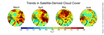 Figure 5. These plots show linear trends of satellite-retrieved cloud cover, percent per year, for March through June over the Arctic (70 to 90 degrees North) from 2000 to 2015. Blues depict declines in cloud cover while reds depict increases. Cloud observations are derived from CERES-MODIS SYN1 Ed3.0 product. || Credit: Huang, Y. et al., 2019, Geophysical Research Letters | High-resolution image
