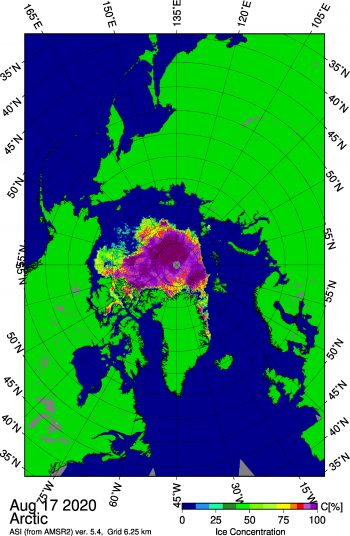 Figure 1b. This Japan Aerospace Exploration Agency (JAXA) Advanced Microwave Scanning Radiometer 2 (AMSR2) image shows sea ice concentration in the Arctic Ocean on August 17, 2020, highlighting the openings of sea ice north of Alaska within the Beaufort and Chukchi Seas. ||Credit: University of Bremen |High-resolution image