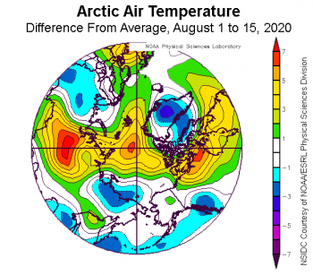 Figure 2b. This plot shows the departure from average air temperature in the Arctic at the 925 hPa level, in degrees Celsius, from August X to XX, 2020. Yellows and reds indicate higher than average temperatures; blues and purples indicate lower than average temperatures. ||Credit: NSIDC courtesy NOAA Earth System Research Laboratory Physical Sciences Division|High-resolution image