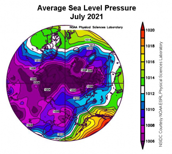 Figure 2b. This plot shows average sea level pressure in the Arctic in millibars from July 1 to 31, 2021. Yellows and reds indicate high air pressure; blues and purples indicate low pressure. ||Credit: NSIDC courtesy NOAA Earth System Research Laboratory Physical Sciences Division|High-resolution image