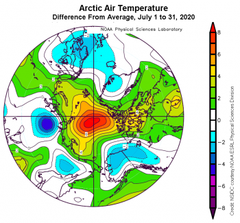 Figure 2b. This plot shows the departure from average air temperature in the Arctic at the 925 hPa level, in degrees Celsius, from July 1 to 31, 2020. Yellows and reds indicate higher than average temperatures; blues and purples indicate lower than average temperatures. ||Credit: NSIDC courtesy NOAA Earth System Research Laboratory Physical Sciences Division|High-resolution image