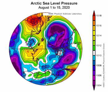 Figure 2c. This plot shows average sea level pressure in the Arctic in millibars (hPa) from August 1, 2020 to August 15, 2020. Yellows and reds indicate high air pressure; blues and purples indicate low pressure. ||Credit: NSIDC courtesy NOAA Earth System Research Laboratory Physical Sciences Division|High-resolution image