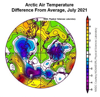 Figure 2c. This plot shows the departure from average air temperature in the Arctic at the 925 hPa level, in degrees Celsius, for July 2021. Yellows and reds indicate higher than average temperatures; blues and purples indicate lower than average temperatures. ||Credit: NSIDC courtesy NOAA Earth System Research Laboratory Physical Sciences Division|High-resolution image