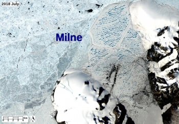 Figure 4. This NASA Landsat 8 true color image shows the former extent of the Milne Ice Shelf on Ellesmere Island in Nunavut, Canada, on July 23, 2018. It was acquired with off-nadir pointing of the satellite. The shelf is covered with linear blue lakes of meltwater that collect in the gently folded (corrugated) surface. In the upper left is the Arctic Ocean covered by perennial sea ice. ||Credit: NASA |High-resolution image