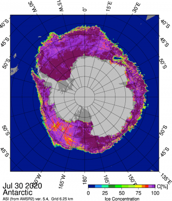 Figure 7. This figure shows the Japanese Aerospace Exploration Agency (JAXA) Advanced Microwave Scanning Radiometer 2 (AMSR2) sea ice concentration for Antarctic sea ice on July 30, 2020. The Cosmonaut Sea polynya is the oblong low-concentration region near 35° East longitude. ||Credit: University of Bremen|High-resolution image