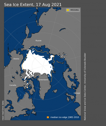 Figure 1. Arctic sea ice extent for XXXX XX, 20XX was X.XX million square kilometers (X.XX million square miles). The orange line shows the 1981 to 2010 average extent for that day. Sea Ice Index data. About the data||Credit: National Snow and Ice Data Center|High-resolution image
