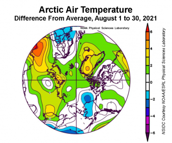 Figure 2. This plot shows the departure from average air temperature in the Arctic at the 925 hPa level, in degrees Celsius, between August 1 to 30, 2021. Yellows and reds indicate higher than average temperatures; blues and purples indicate lower than average temperatures. ||Credit: NSIDC courtesy NOAA Earth System Research Laboratory Physical Sciences Laboratory|High-resolution image