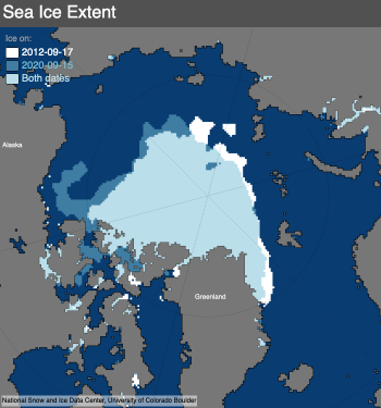 Figure 1b. The map above compares the 2012 Arctic sea ice minimum, reached on September 17, with the 2020 Arctic sea ice minimum, reached on September 15. Light blue shading indicates the region where ice occurred in both 2012 and 2020, while white and medium blue areas show ice cover unique to 2012 and to 2020, respectively. Sea Ice Index data. About the data||Credit: National Snow and Ice Data Center|High-resolution image
