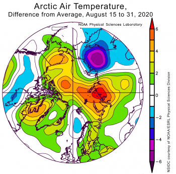 Average air temperatures in Arctic from August 15 to 31, 2020