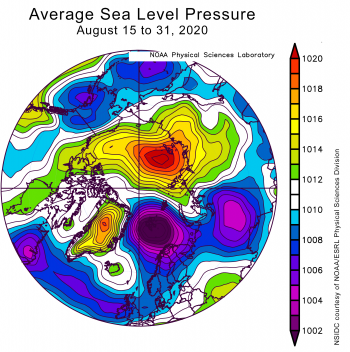 Average sea level pressure over Arctic from August 1 to 31, 2020