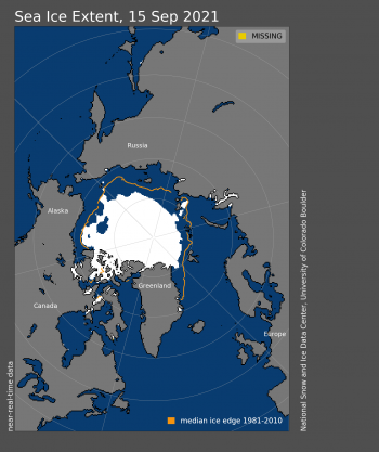 Figure 1a. Arctic sea ice extent for September 15, 2021 was 4.73 million square kilometers (1.83 million square miles). The orange line shows the 1981 to 2010 average extent for that day. Sea Ice Index data. About the data||Credit: National Snow and Ice Data Center|High-resolution image