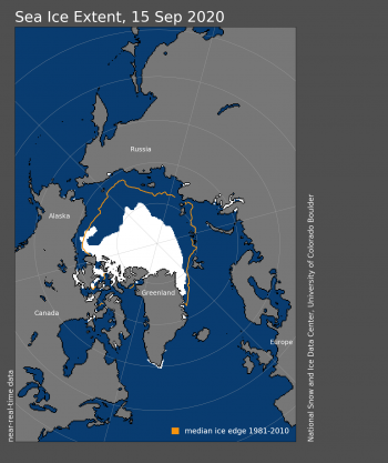 Figure 1a. Arctic sea ice extent for September 15, 2020 was X.XX million square kilometers (X.XX million square miles). The orange line shows the 1981 to 2010 average extent for that day. Sea Ice Index data. About the data||Credit: National Snow and Ice Data Center|High-resolution image