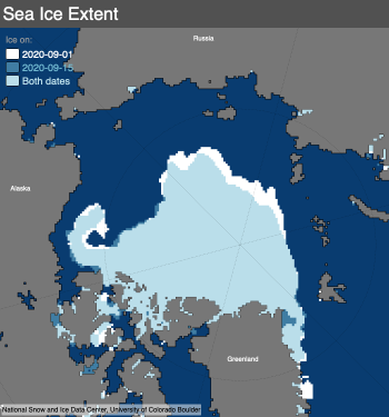 Figure 1d. This figure compares Arctic sea ice extent on September 1, 2020 (in white), and September 14, 2020 (in blue), showing recent areas of retreat. ||Credit: National Snow and Ice Data Center|High-resolution image