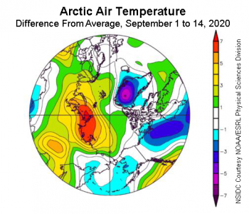 Figure 2a. This plot shows the departure from average air temperature in the Arctic at the 925 hPa level, in degrees Celsius, from September 1 to 14, 2020. Yellows and reds indicate higher than average temperatures; blues and purples indicate lower than average temperatures. ||Credit: NSIDC courtesy NOAA Earth System Research Laboratory Physical Sciences Division|High-resolution image