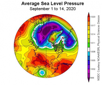 Figure 2b. This plot shows average sea level pressure in the Arctic in millibars (hPa) from September 1 to 14, 2020. Yellows and reds indicate high air pressure; blues and purples indicate low pressure. ||Credit: NSIDC courtesy NOAA Earth System Research Laboratory Physical Sciences Division|High-resolution image