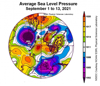 Figure 2b. This plot shows average sea level pressure in the Arctic in millibars from September 1 to 13, 2021. Yellows and reds indicate high air pressure; blues and purples indicate low pressure. ||Credit: NSIDC courtesy NOAA Earth System Research Laboratory Physical Sciences Laboratory|High-resolution image