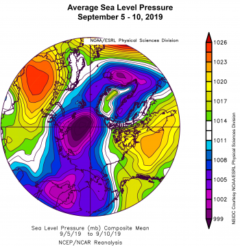 Figure 2b. This plot shows average sea level pressure in the Arctic in millibars (hPa) for September 5 to 10, 2019. Yellows and reds indicate high air pressure; blues and purples indicate low pressure. ||Credit: NSIDC courtesy NOAA Earth System Research Laboratory Physical Sciences Division |High-resolution image