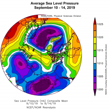 Figure 2c. This plot shows average sea level pressure in the Arctic in millibars (hPa) for September 10 to 14, 2019. Yellows and reds indicate high air pressure; blues and purples indicate low pressure. ||Credit: NSIDC courtesy NOAA Earth System Research Laboratory Physical Sciences Division |High-resolution image
