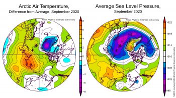 September 2020 Arctic air temperature, as difference from average (left) Average sea level pressure (right)