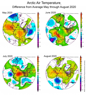 Arctic air temperatures for May through August 2020, difference from average