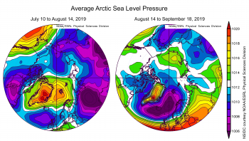 Figure 4c. This plot shows average sea level pressure in the Arctic in millibars (hPa) for two different periods of the 2019 Arctic melt season. The left image shows SLP average from July 10 to August 14, and the image on the right shows SLP averages from August 14 to September 18. Yellows and reds indicate high air pressure; blues and purples indicate low pressure.||Credit: NSIDC courtesy NOAA Earth System Research Laboratory Physical Sciences Division| High-resolution image