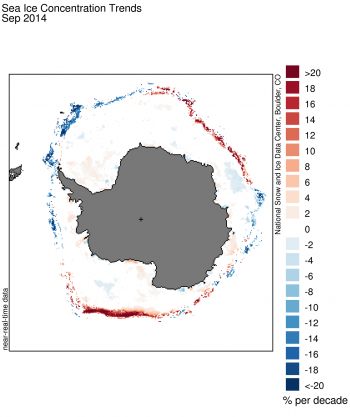 Figure 7. These images show sea ice extent (top and sea ice concentration trends for the month of September 2014.  Sea Ice Index data. About the data||Credit: National Snow and Ice Data Center|High-resolution image
