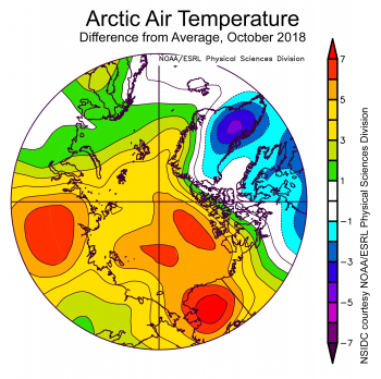 Figure 2. This plot shows departure from average air temperature in the Arctic at the 925 hPa level, in degrees Celsius, for June 2018. Yellows and reds indicate higher than average temperature; blues and purples indicate lower than average temperature.