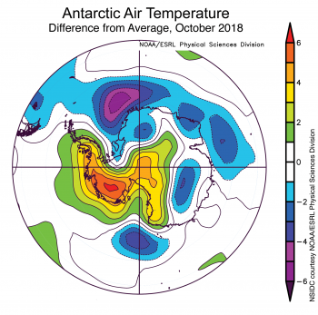 Figure 5. Figure 2X. This plot shows the departure from average air temperature in the Arctic at the 925 hPa level, in degrees Celsius, for XXXmonthXX 20XX. Yellows and reds indicate higher than average temperatures; blues and purples indicate lower than average temperatures.||Credit: NSIDC courtesy NOAA Earth System Research Laboratory Physical Sciences Division| High-resolution image