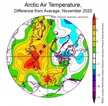 Arctic air temperatures, as a difference from average for November 2020
