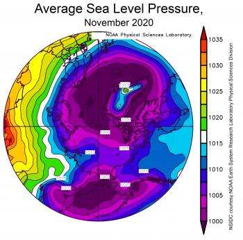 Average sea level pressure, November 2020