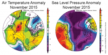 air temperature and pressure anomaly plots