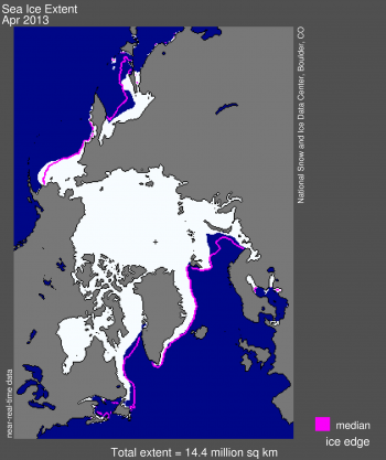 Figure 1. Arctic sea ice extent for April 2013 was X.XX million square kilometers (X.XX million square miles). The magenta line shows the 1979 to 2000 median extent for that month. The black cross indicates the geographic North Pole.  Sea Ice Index data. About the data||Credit: National Snow and Ice Data Center|High-resolution image