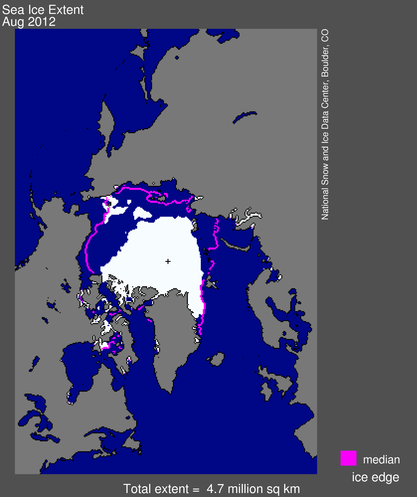 Arctic sea ice extent Sept 2012