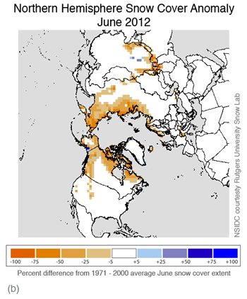 map of snow cover anomalies