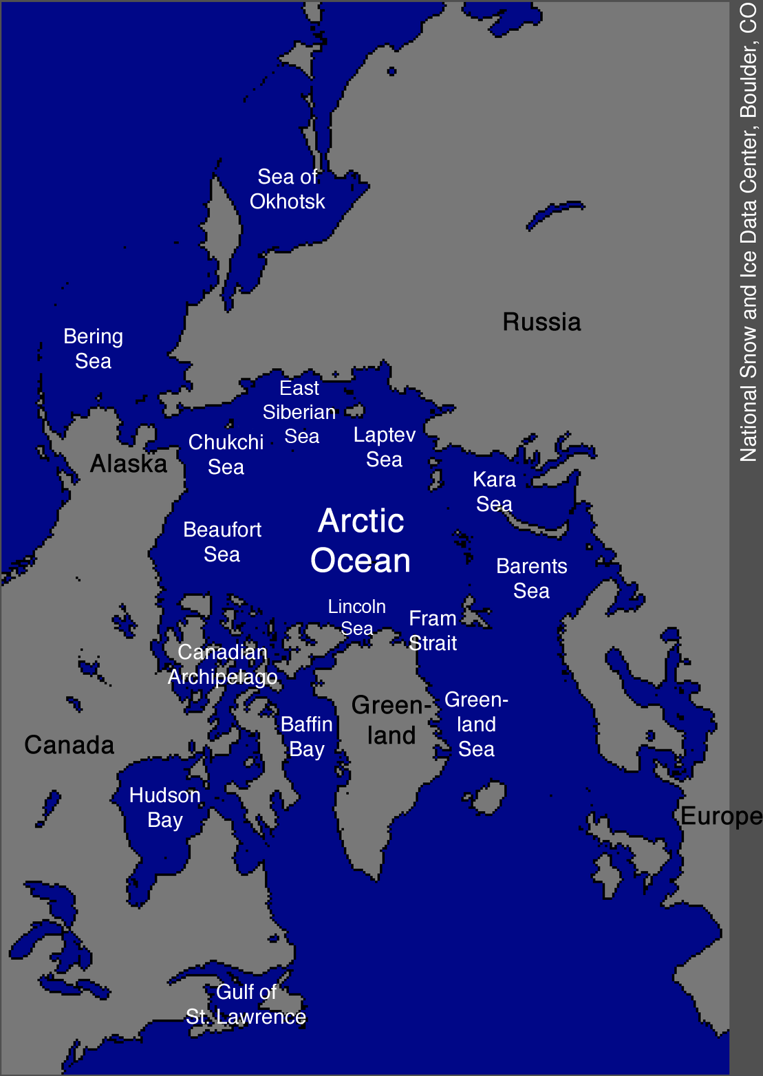 Map of the arctic ocean arctic sea ice news and analysis credit national snow and ice data center gumiabroncs Gallery