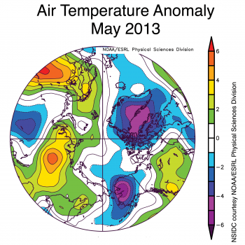 Figure 5. This image shows air temperature anomalies at the 925 hPa level averaged for May 2013, compared to averages over the period 1981 to 2010. Temperatures were lower than average over Alaska, while temperatures across much of Siberia were above average. ||Credit: NSIDC courtesy NOAA/ESRL PSDHigh-resolution image